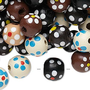 Bead Mix, Painted Wood, Mixed Colors, 10-11mm Irregular Round Flower Design. Sold Per 400-gram Pkg, Approximately 1,500 Beads