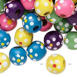 Bead Mix, Painted Wood, Mixed Colors, 10-11mm Irregular Round Flower Design. Sold Per 90-gram Pkg, Approximately 300 Beads