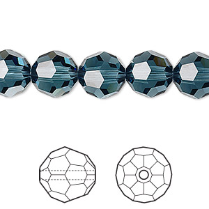 Bead, Swarovski® Crystals, Crystal Passions®, Montana, 10mm Faceted Round (5000). Sold Per Pkg 24 5000