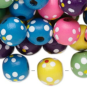 Bead Mix, Painted Wood, Mixed Colors, 13-14mm Irregular Round Flower Design. Sold Per 400-gram Pkg, Approximately 550 Beads