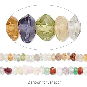 2868d9b7f Bead, multi-gemstone (natural / dyed / heated), mixed colors, 4x1mm-5x4mm  hand-cut faceted rondelle, C- grade, Mohs hardness 7. Sold per 12-inch  strand.