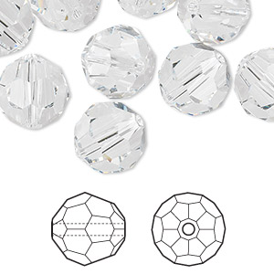 Bead, Swarovski® Crystals, Crystal Passions®, Crystal Clear, 12mm Faceted Round (5000). Sold Per Pkg 24 5000