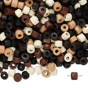 Bead Mix, Wood, Mixed Colors, 4x3mm Heishi. Sold Per 90-gram Pkg, Approximately 4,600 Beads