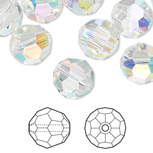 Bead, Swarovski® Crystals, Crystal Passions®, Crystal AB, 12mm Faceted Round (5000). Sold Per Pkg 24 5000