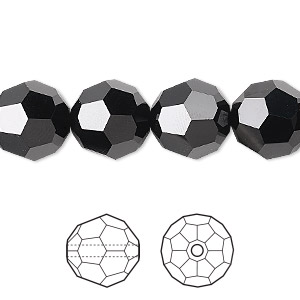 Bead, Swarovski® Crystals, Jet, 12mm Faceted Round (5000). Sold Per Pkg 24 5000