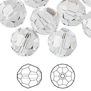 Bead, Swarovski® Crystals, Crystal Clear, 14mm Faceted Round (5000). Sold Per Pkg 24 5000