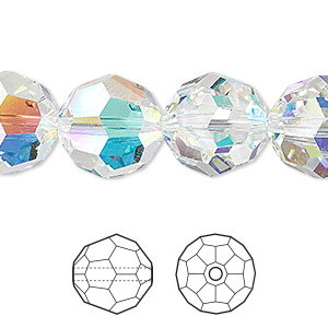 Bead, Swarovski® Crystals, Crystal Passions®, Crystal AB, 14mm Faceted Round (5000). Sold Per Pkg 24 5000