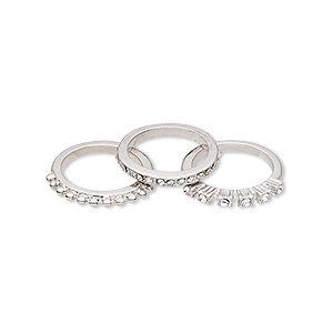 Finger Rings Imitation rhodium-finished Silver Colored
