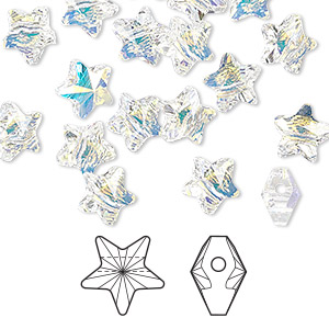 Bead, Swarovski® Crystals, Crystal Passions®, Crystal AB, 8x8mm Faceted Star (5714). Sold Per Pkg 8 5714