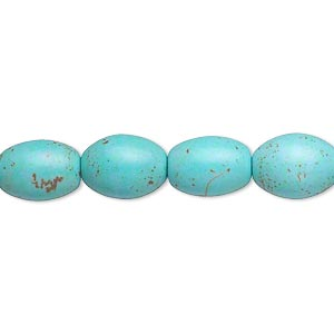 Bead, Magnesite (dyed / Stabilized), Blue-green, 11x8mm-12x10mm Oval, C- Grade, Mohs Hardness 3-1/2 4. Sold Per 16-inch Strand