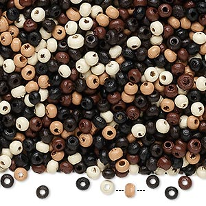 Bead Mix, Wood, Mixed Colors, 2x2mm Rondelle. Sold Per 400-gram Pkg, Approximately 80,000 Beads