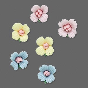 Embellishment, Porcelain, Assorted Colors, 10mm Undrilled Flower. Sold Per Pkg 3 Pairs