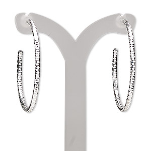 Hoop Earrings Silver Plated/Finished Silver Colored