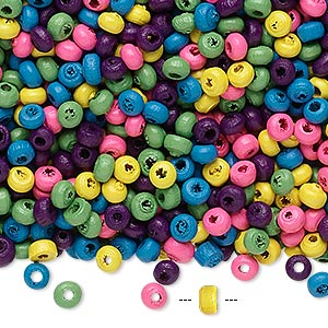 Bead Mix, Painted Wood, Mixed Colors, 3x2mm Rondelle. Sold Per 90-gram Pkg, Approximately 9,000 Beads