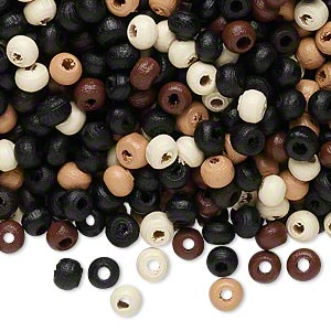 Bead Mix, Wood, Mixed Colors, 4x3mm Rondelle. Sold Per 400-gram Pkg, Approximately 23,000 Beads