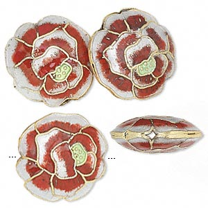Bead, Cloisonné, Gold-finished Brass Enamel, Rose/gold/green, 19x9mm Round Rose. Sold Per Pkg 4