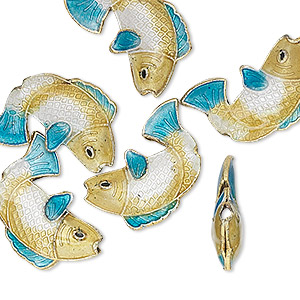 Bead, Cloisonné, Gold-finished Brass Enamel, Gold/white/blue, 18x14mm Fish. Sold Per Pkg 6