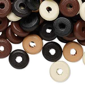 Bead Mix, Wood, Mixed Colors, 11x3mm Rondelle. Sold Per 90-gram Pkg, Approximately 560 Beads
