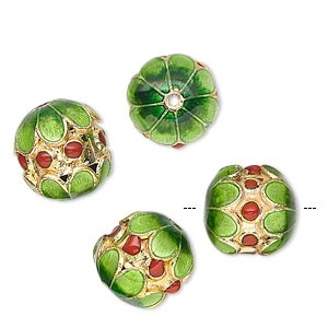 Bead, Cloisonné, Gold-finished Brass Enamel, Green/red, 13x12mm Drum Flowers Red Dots. Sold Per Pkg 4