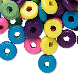 Bead Mix, Painted Wood, Mixed Colors, 11x3mm Rondelle, Approximately 2.6mm Hole. Sold Per 400-gram Pkg, Approximately 2,800 Beads