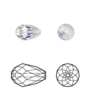 Bead, Swarovski® Crystals, Crystal Passions®, Crystal AB, 12x8mm Faceted Teardrop (5500). Sold Per Pkg 24 5500