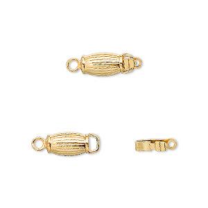 Clasp, Tab, Gold-plated Brass, 8x5mm Corrugated Barrel. Sold Per Pkg 100