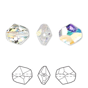 Bead, Swarovski® Crystals, Crystal Passions®, Crystal AB, 12x11mm Faceted Cosmic (5523). Sold Per Pkg 48 5523