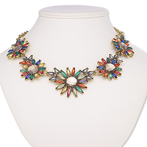 "Necklace, Acrylic / Antique Brass-coated Plastic / Antique Brass-plated Steel / Brass / ""pewter"" (zinc-based Alloy), Multicolored, 51x38mm-67x48mm Graduated Flower, 18 Inches 2-inch Extender Chain Lobster Claw Clasp. Sold Individually 8146JD"