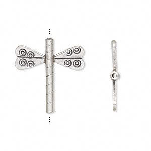 Bead, Hill Tribes, Antiqued Fine Silver, 22x20mm Dragonfly. Sold Individually