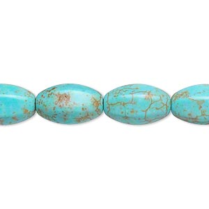 Bead, Magnesite (dyed / Stabilized), Light Blue, 14x9mm 6-sided Oval, B- Grade, Mohs Hardness 3-1/2 4. Sold Per 16-inch Strand
