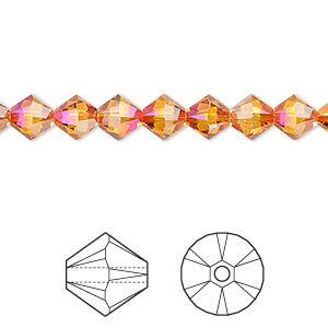 Bead, Swarovski® Crystals, Crystal Astral Pink, 6mm Xilion Bicone (5328). Sold Per Pkg 360 5328