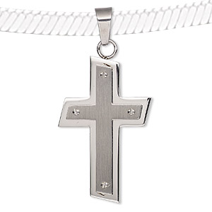 Pendant, Stainless Steel, 47x27mm Slanted Cross. Sold Individually