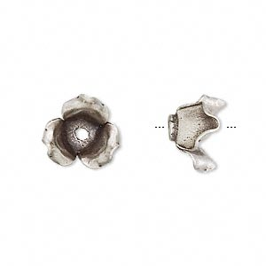Bead, Hill Tribes, Antiqued Fine Silver, 12x10mm Flower. Sold Individually