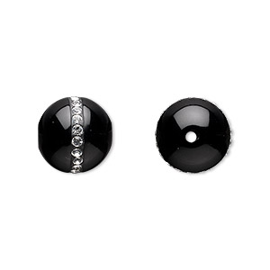 Bead, Black Onyx (dyed) Swarovski® Crystals, Crystal Clear, 12mm Round, B Grade, Mohs Hardness 6-1/2 7. Sold Individually 8213NB