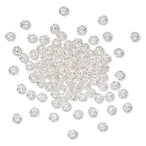 Bead, Silver-plated Brass, 4mm Cutout Round. Sold Per Pkg 100
