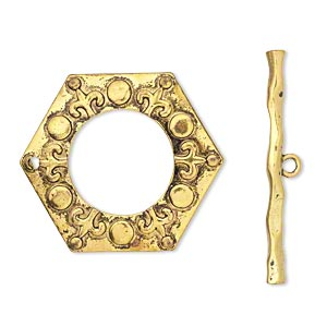 "Clasp, Toggle, Antiqued Gold-finished ""pewter"" (zinc-based Alloy), 47x41mm Hexagon. Sold Per Pkg 2"