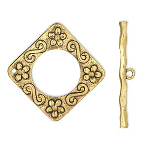 "Clasp, Toggle, Antiqued Gold-finished ""pewter"" (zinc-based Alloy), 49x49mm Diamond. Sold Per Pkg 2"