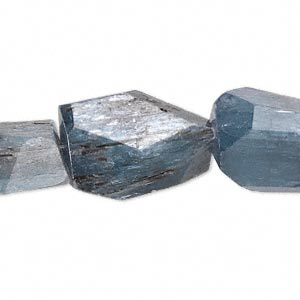 Bead, Blue Kyanite (natural), Extra-large Hand-cut Faceted Nugget, Mohs Hardness 4 7-1/2. Sold Per 16-inch Strand 8280GS