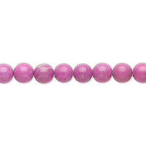 Bead, Magnesite (dyed / Stabilized), Fuchsia, 6mm Round, B Grade, Mohs Hardness 3-1/2 4. Sold Per 16-inch Strand 8285GS