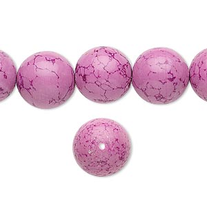 Bead, Magnesite (dyed / Stabilized), Fuchsia, 12mm Round, B Grade, Mohs Hardness 3-1/2 4. Sold Per 16-inch Strand 8288GS