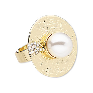 """Ring, Glass Rhinestone / Plastic Pearl / Gold-finished """"pewter"""" (zinc-based Alloy), White Clear, 30mm Round, Adjustable. Sold Individually 8309JD"""