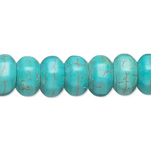 Bead, Magnesite (dyed / Stabilized), Blue-green, 12x7mm Faceted Rondelle, C Grade, Mohs Hardness 3-1/2 4. Sold Per 15-inch Strand