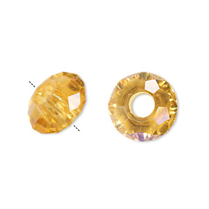 Beads Glass Gold Colored