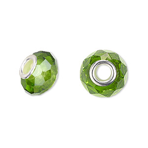 Bead, Dione® Celestial Crystal®, Glass Silver-plated Brass, 32-facet, Green, 13x9mm-14x10mm Faceted Rondelle 4.5mm Hole. Sold Per Pkg 10 8351GL