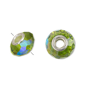 Bead, Dione®, Celestial Crystal® Silver-plated Brass, 32-facet, Green AB, 13x9mm-14x10mm Faceted Rondelle 4.5mm Hole. Sold Per Pkg 10 8361GL