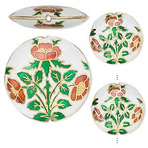 Bead, Cloisonné, Enamel Gold-finished Copper, Green / Red / White, 24mm 38mm Puffed Flat Round Flower Design. Sold Per 3-piece Set