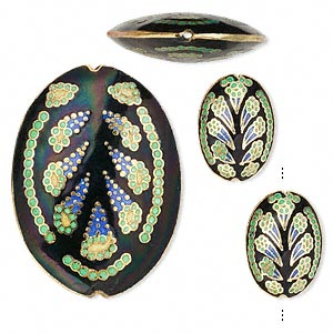 Bead, Cloisonné, Enamel Gold-finished Copper, Multicolored, 24x17mm 50x36mm Puffed Oval Abstract Design. Sold Per 3-piece Set