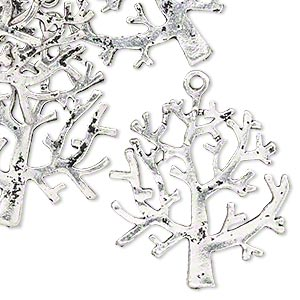 "Charm, Antiqued Silver-finished ""pewter"" (zinc-based Alloy), 28.5x27mm Double-sided Tree. Sold Per Pkg 12"