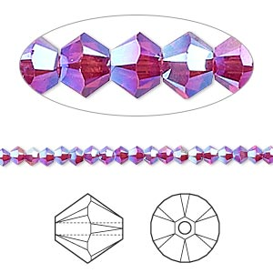 Bead, Swarovski® Crystals, Crystal Passions®, Fuchsia AB2X, 3mm Xilion Bicone (5328). Sold Per Pkg 48 5328