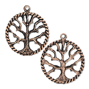 Charm, Antique Copper-plated Pewter (tin-based Alloy), 22mm Tree Life. Sold Per Pkg 2